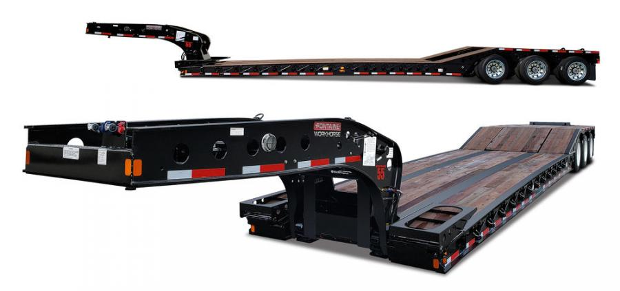 The Fontaine Workhorse 55PVR is designed specifically for road builders and has a low 9-degree front ramp at the deck and 16-degree deck-to-bogie transition ramps.
