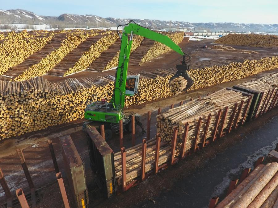 From the operator's vantage point, 16 ft. CTL logs are easily moved from the stack to the railcars going to Dunkley.
