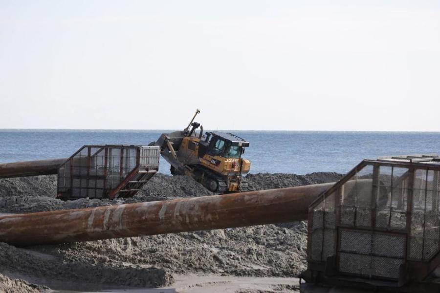 Construction crews work to replenish the Atlantic City, N.J., beaches near Massachusetts Avenue and Ocean Casino Resort. (Press of Atlantic City/Edward Lea photo)