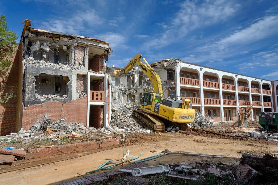 Demolition has started at Ezell-Abernathy Halls. The site will soon house the new building for MTSU School of Concrete and Construction Management. (MTSU Facebook photo)