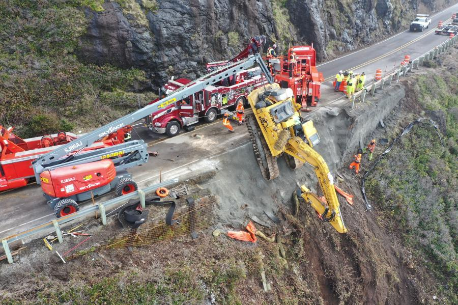 A portion of U.S. 101 collapsed on Feb. 5 causing a drill rig and the operator to plummet from the 150-ft. high road when it gave way.