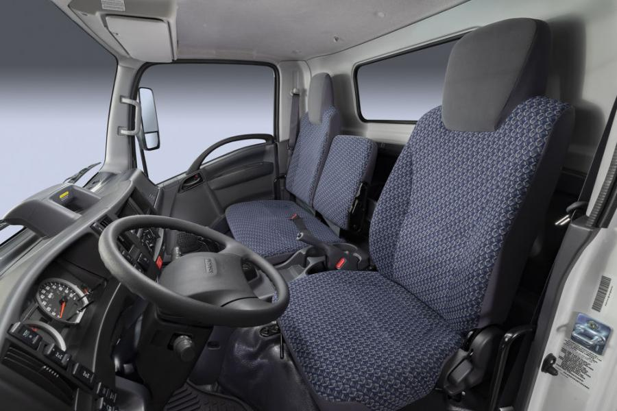 Inside Isuzu's Hexapod cab, customers will see darker gray color schemes on the lower section coupled with darker accents including the steering wheel, gear shift lever, parking brake lever and other controls, while lighter gray components up above create a greater sense of spaciousness.