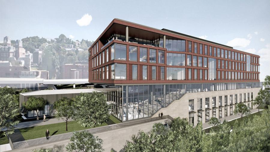 Reynolds Hall will be part of a new complex that sits on an iconic, riverfront site on the Downtown area of campus, with views of the Monongahela River to the east and the campus to the west. (WVU rendering)