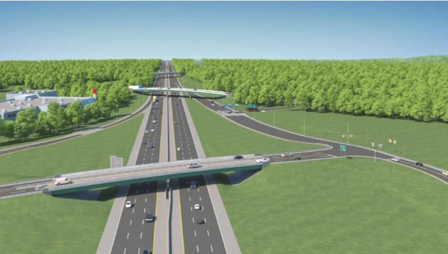 A rendering of the redesigned exit 45 looking south. The red-colored tower on the left is the site of the Christmas Tree shop. (Maine Turnpike Authority)