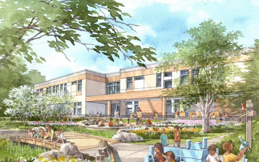 A design rendering of the Blanche A. Ames Elementary School showing plans for outdoor play areas and learning spaces. (Dongik Lee rendering)
