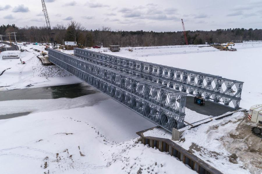Crews have installed all bridge deck panels. Final paving will be scheduled when plants resume operations in May. (Michigan Department of Transportation photo)