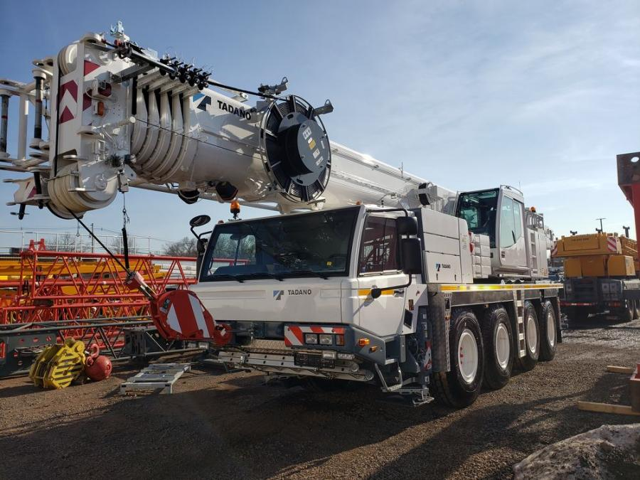 The four-axle 75 ton all terrain Tadano ATF 70G-4 offers one of the longest booms in this size crane at 171 ft.