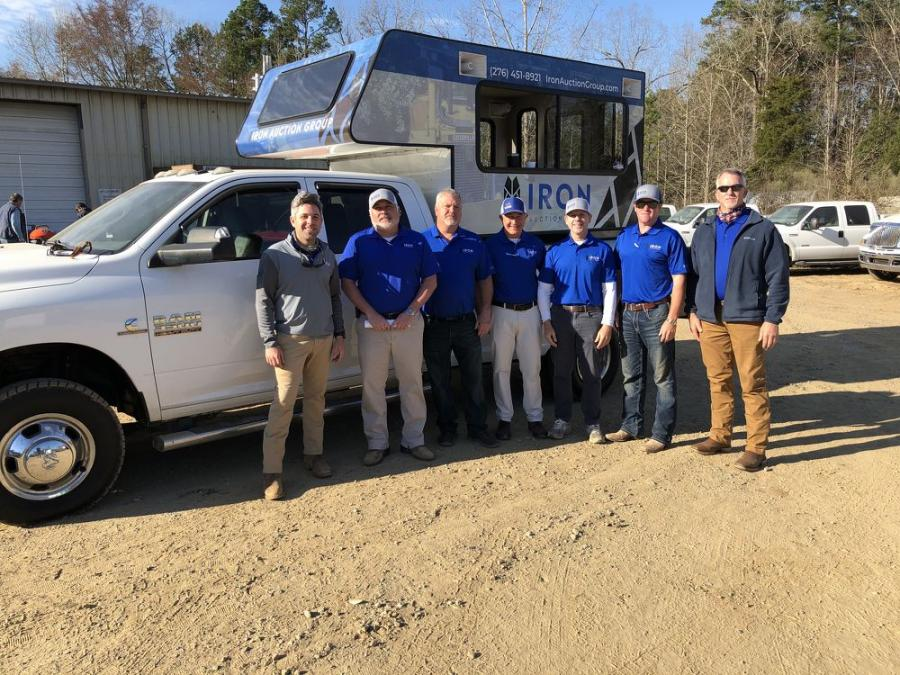 Most of the Iron Auction Group team assembled for a meeting before the auction. (L-R) are Jared McGaffee, Matt McGaffee, Wayne Riffe, Ross McMillan, Mike Finley, Matt Warren and David Meares.