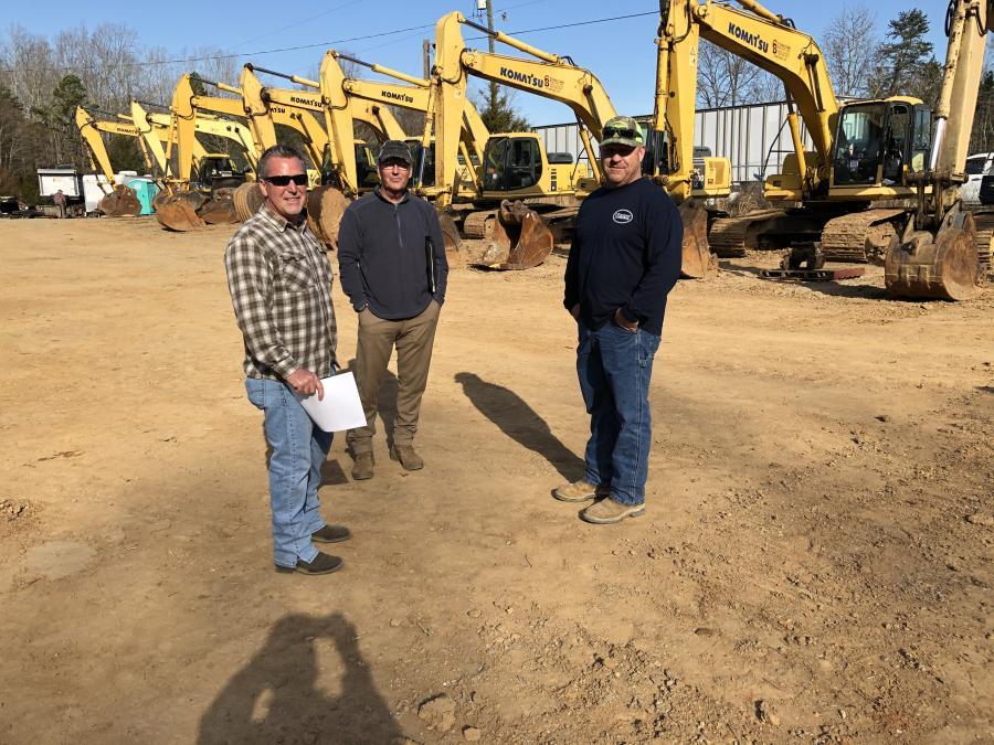 (L-R) are David Garrow of Herrin Industries in Mt. Pleasant, N.C.; and Dennis Herrin and Sherrill Cody, both of Cody Grading in Richfield, N.C.