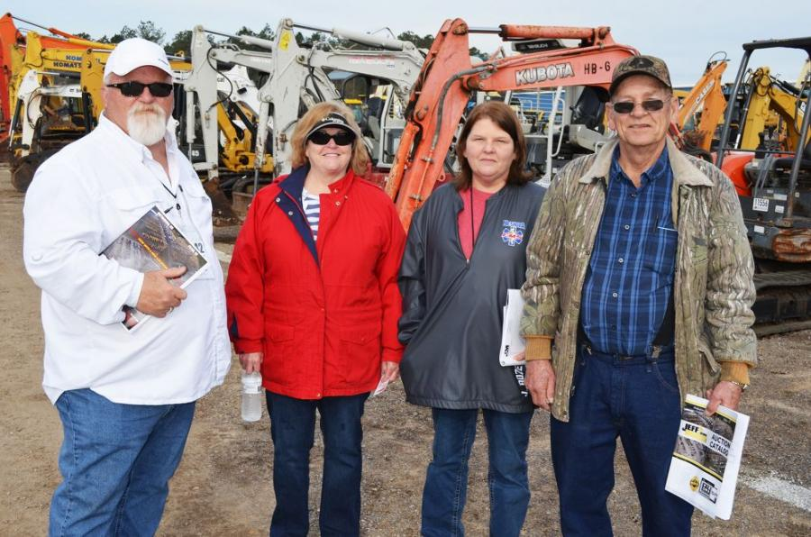 (L-R): Randy and Diane Cowart of R&J Construction, Lucedale, Miss., and their friends, Janice Bozeman and Kenneth Bishop of Philadelphia, Miss., enjoy their day of equipment auctioning.