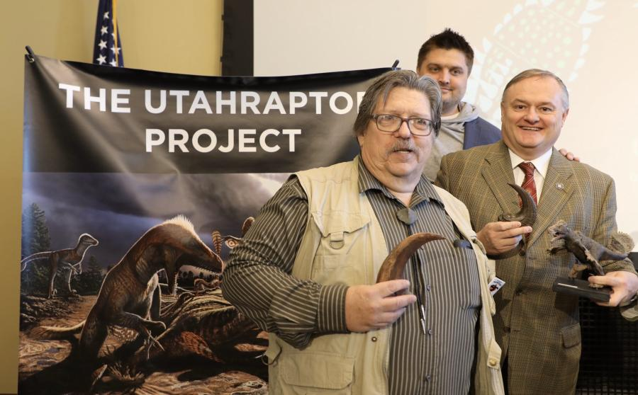 State paleontologist James Kirkland (L) and Mike Mower, Gov. Gary Herbert's deputy chief of staff, partake in a presentation outlining the proposed project. (Twitter photo/Mike Mower)