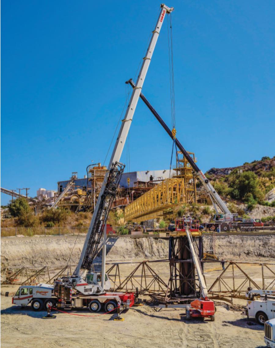 Anglemyer Crane Rental of Azusa, Calif., operated its 110-ton Link-Belt HTC-86110 hydraulic truck crane and 275-ton Link-Belt ATC-3275 all-terrain crane to perform a tandem lift.