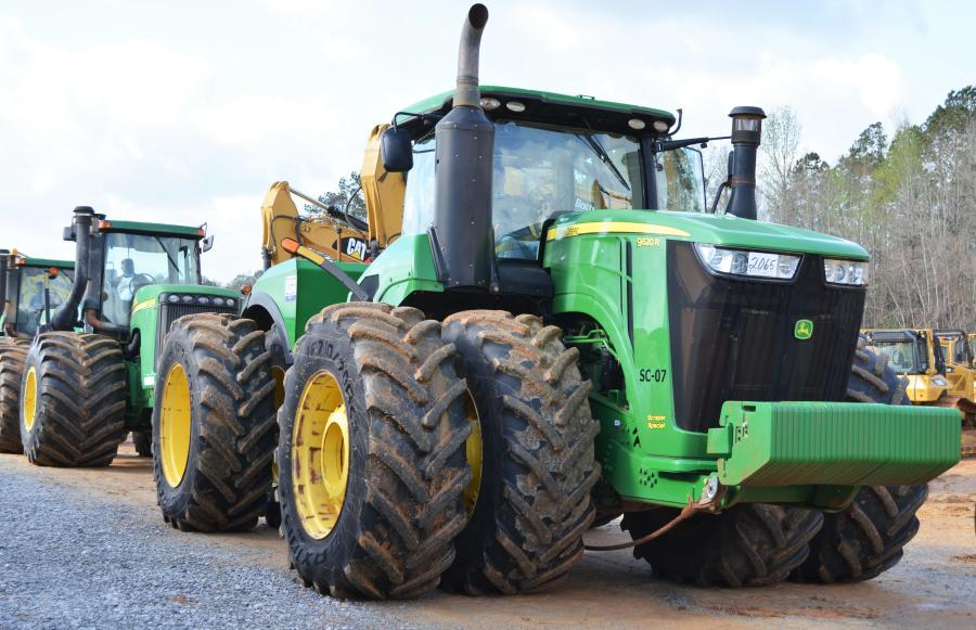 """An abundance of pull pans and pull tractors were in this sale, including this really nice John Deere 9620R Scraper Special that """"gaveled out"""" at $165,000."""