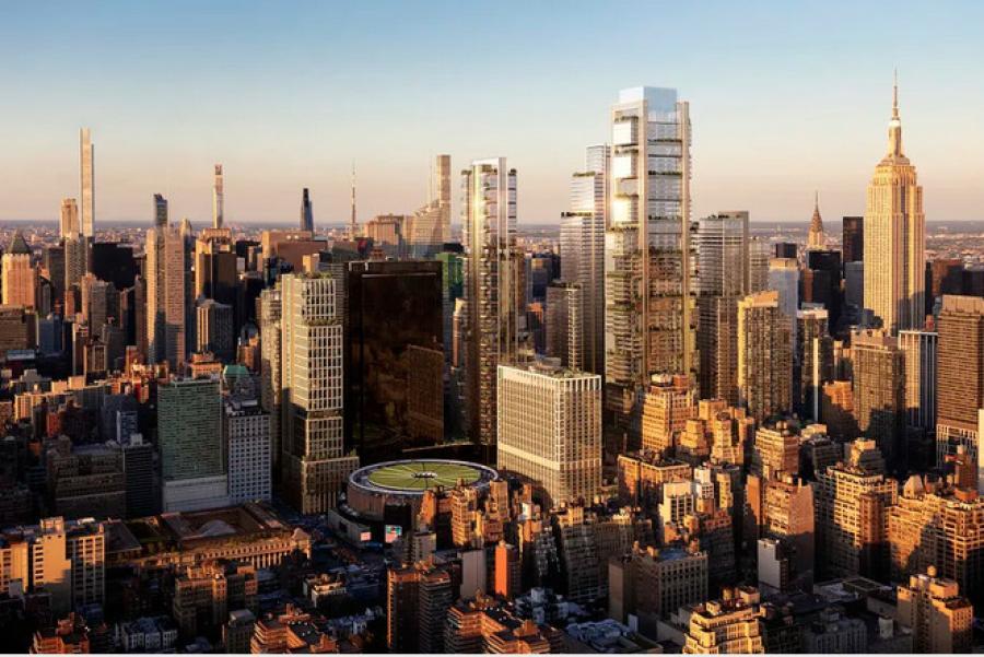 Un rendu de la ligne d'horizon de New York proposée par un développeur lié à la proposition du complexe Empire Station.  (Rendu Vornado Realty Trust)