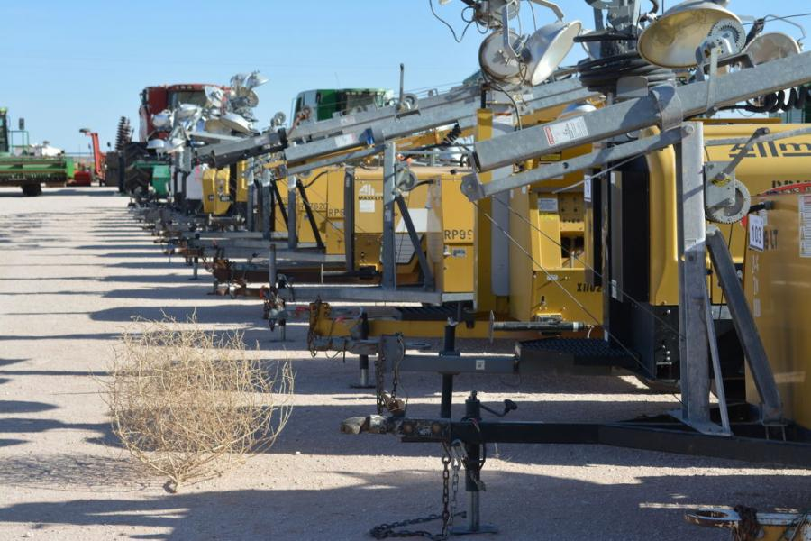 Even the ever-present West Texas tumbleweed found its way to the Seminole auction. These Allmand light towers were among the dozens sold at the auction.