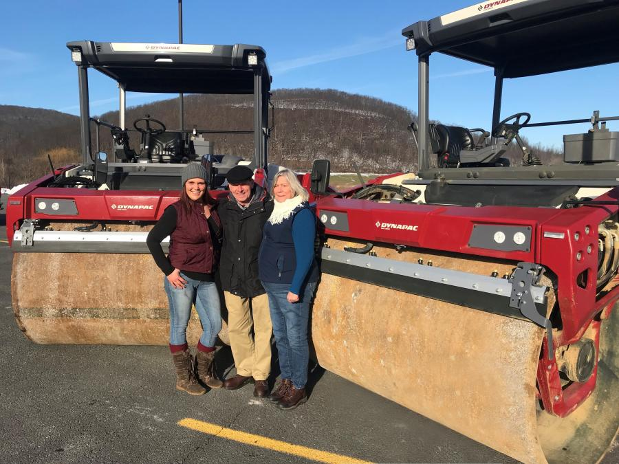 T'mara Deridder (L) and her grandmother Elaine Sheldon (R), roller operators at Cobbleskill Stone, are standing with Mike Moore, vice president of Cobleskill Stone.