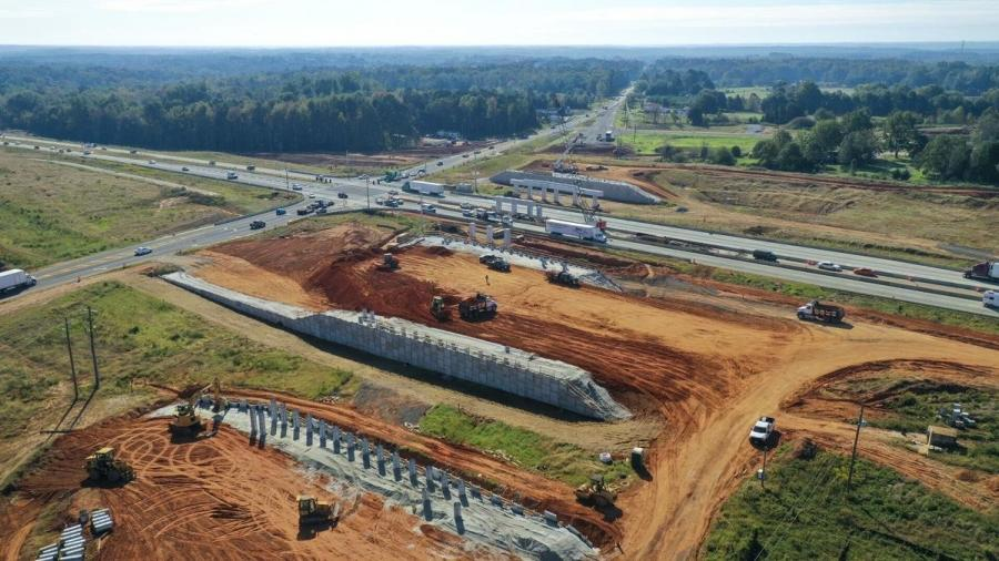 The new Harbins Road interchange at State Route 316 is visible  in this aerial photo from late 2020. Gwinnett County has take the lead on the intersection to interchange conversion, which is being done in partnership with the Georgia Department of Transportation. (Gwinnett County photo)