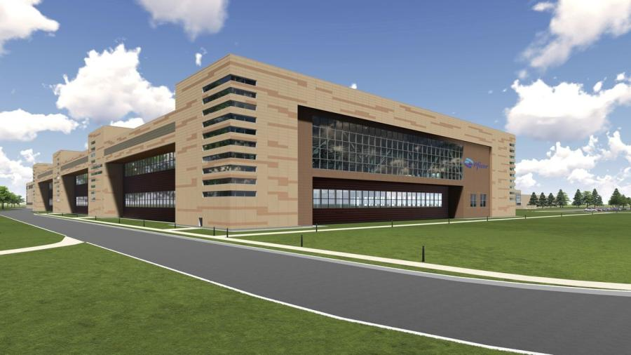 Pfizer has begun construction on its massive, $450 million pharmaceutical production campus in the western Michigan town of Portage.