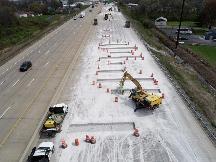In order to drill more than 900 holes per eight-hour day, Milestone Contractors used the A-4SCW four-gang self-propelled wireless drill and dust collection system from Minnich Manufacturing, a manufacturer of dowel pin drills, concrete vibrators and vibrator monitoring systems.
