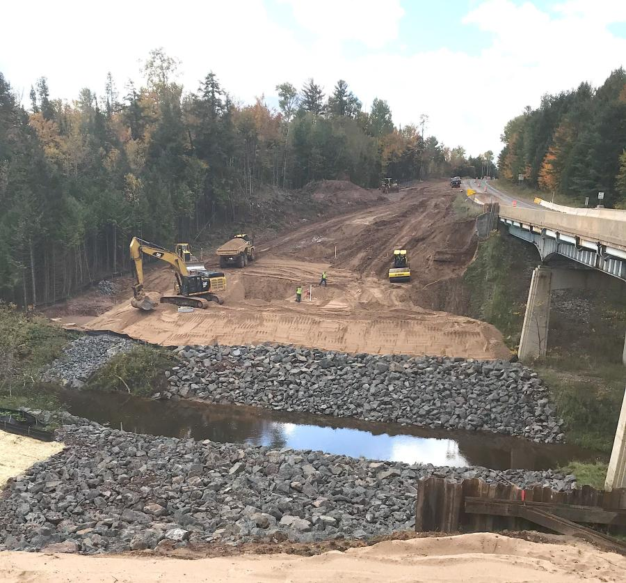 Approximately 300,000 cu. yds. of dirt will be moved for the bridge over the Firesteel River in Michigan. (MDOT photo)