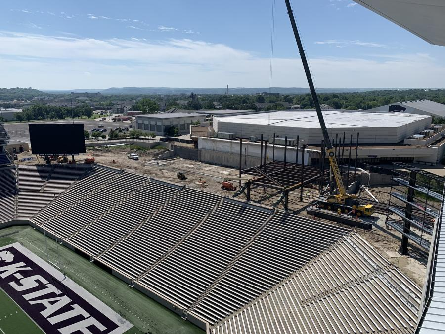 Kansas State University Athletics noted a new milestone in its $52 million south end zone football stadium project (SEZ). Located in the Bill Snyder Family Stadium, the SEZ is officially dubbed the Shamrock Zone.