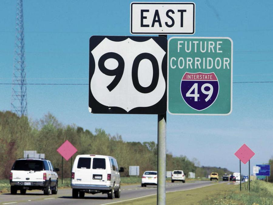 Louisiana's plan is to connect New Orleans and Lafayette with an upgraded U.S. Highway 90 that becomes I-49 South, essentially converting U. S. 90 to a high speed, limited access interstate roadway.