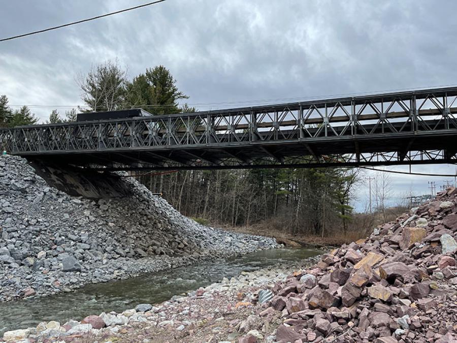 Rip-rap supports the bridge abutments on Kimball Avenue above the Muddy Brook at the South Burlington-Williston line. (VBM photo)