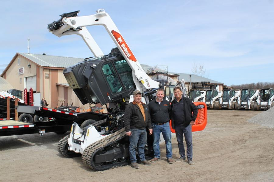 (L-R) are long-time customer Neal Seppelt of Adolfson, Peterson Construction; Jay Kockler, general manager of Farm-Rite Equipment of St. Cloud; and Tim Krahn, district manager of Bobcat. Seppelt, a current Bobcat T595 owner, is looking to upgrade to the new Bobcat T76.