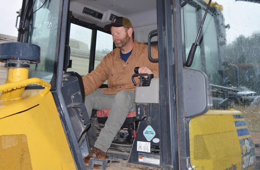 Jamey Dockery of Appalachian Excavation, Young Harris, Ga., puts a Komatsu dozer through the paces before putting it on his bidding list.