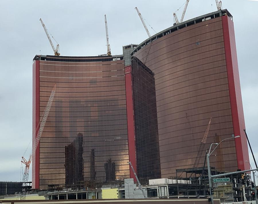 Resorts World building under construction in Las Vegas in December 2019.