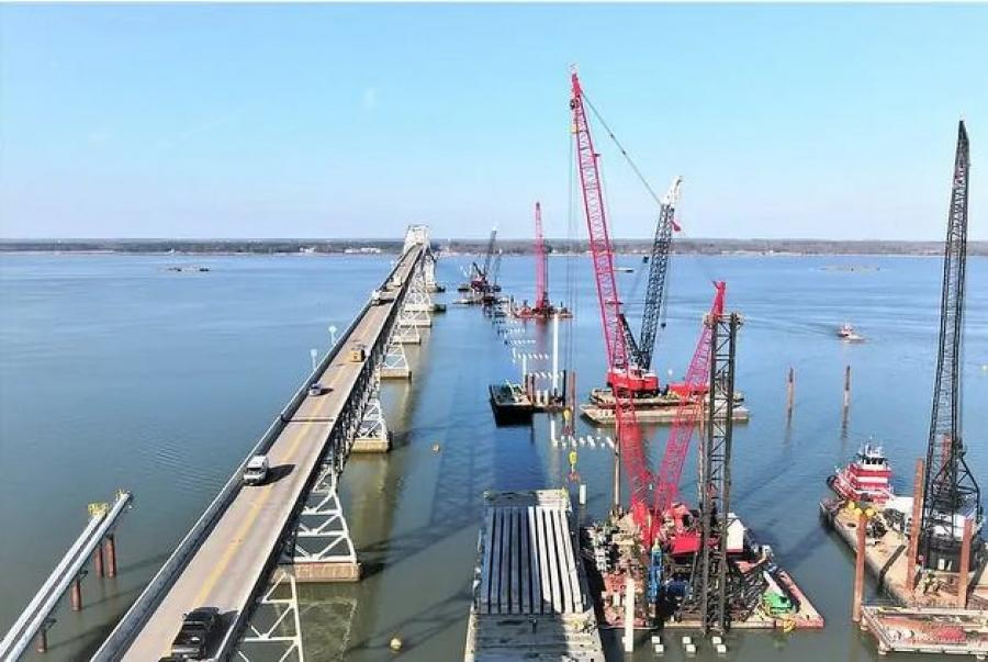 Form-placing is under way in this late-March photo at the new Nice/Middleton Bridge. (MDTA photo)