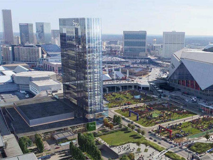 The new Signia by Hilton hotel will be connected to the Georgia World Congress Center via a walkway and will overlook the Mercedes-Benz Stadium in Atlanta.