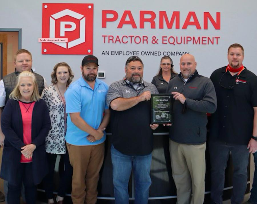 Takeuchi-US has presented Parman Tractor & Equipment of Nashville, Tenn., with an award for having the largest market share growth of all Takeuchi dealers in North America during 2020. Paul Wade, regional business manager of Takeuchi, presented the award to Parman Tractor Salesman Scott Syler.