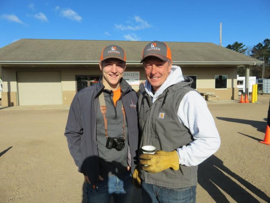 Father-and-son team, Chase (L) and Bryce Hansen, president and CEO of Hansen Auction Group, are ready to welcome everyone to Nitke's two-day spring auction.
