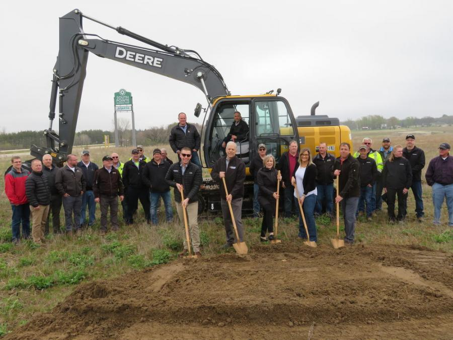 (L-R) Lewis, Lew and Mary Kay Brooks; Mayor Kristen Gust and Todd Fahning of the city of Sparta break ground on the new Brooks Tractor Sparta location.