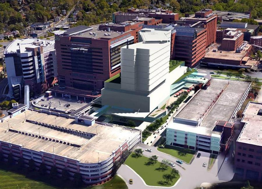 The care tower will be built where Parking Deck B currently stands.