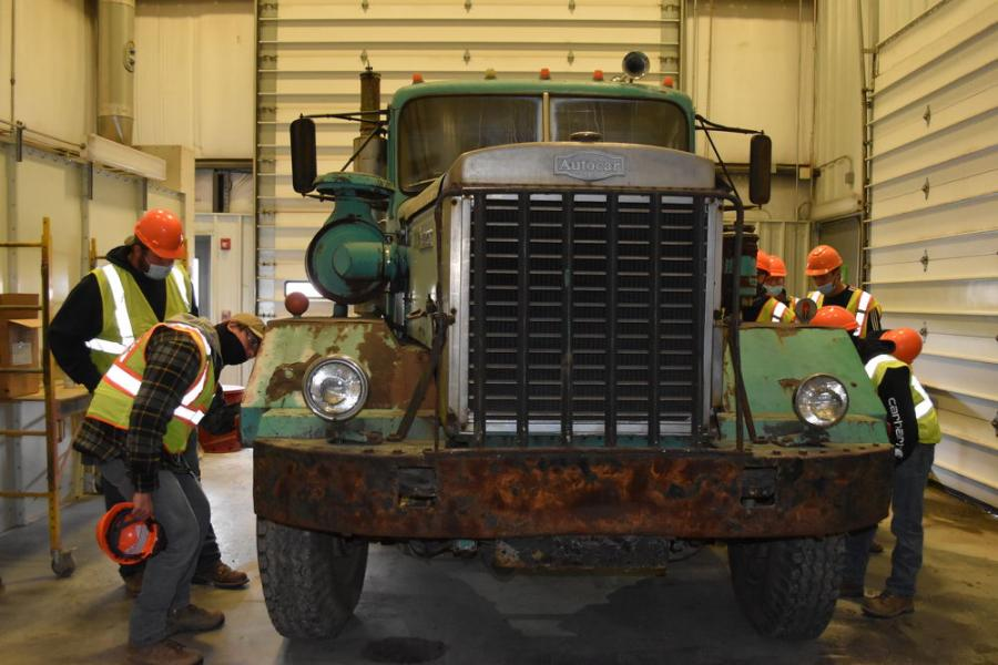 Students got a kick out of this 1970s vintage Autocar truck being restored as a project for the owner of Robert H. Finke & Sons. It will eventually sit in the dealership's showroom, which already features a couple of vintage vehicles.