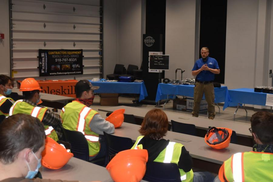Bob Rowe, parts manager of Robert H. Finke & Sons, welcomes students from Capital Region BOCES to Finke's training center facilities in Selkirk, N.Y.