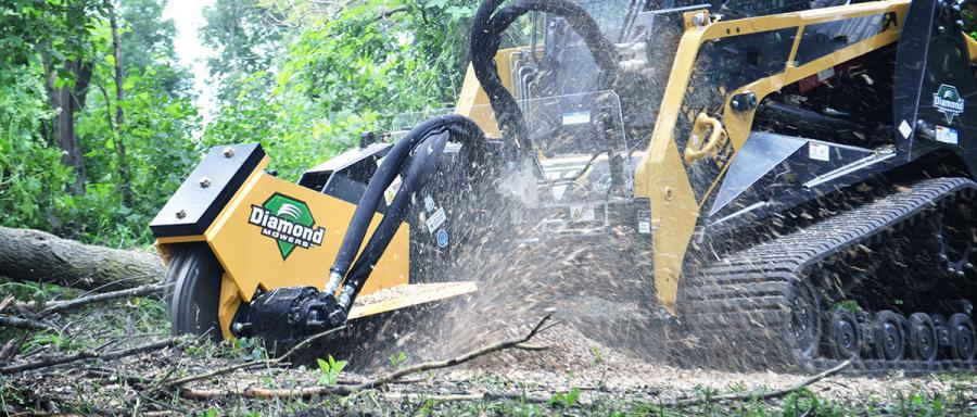 A skid-steer stump grinder is a fast, efficient way to remove unwanted stumps below ground-level and is an effective way to finish up a job.