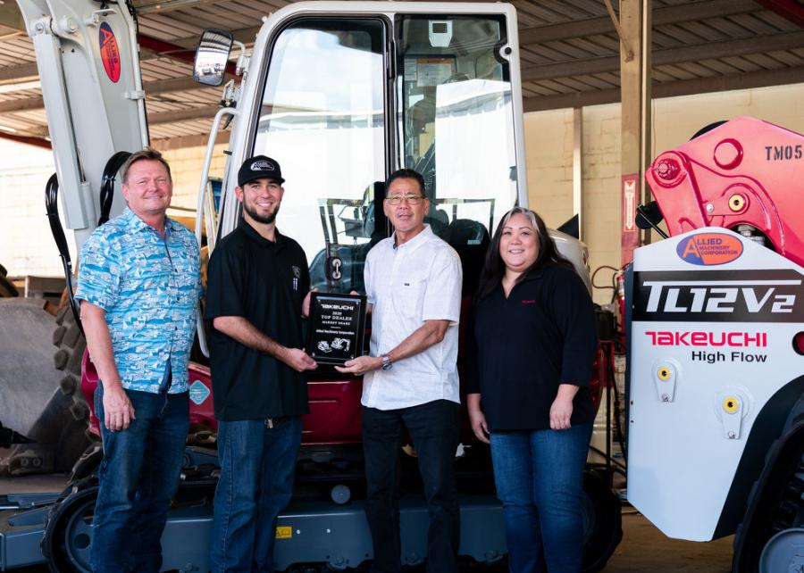 Allied Machinery Corporation displays its dealer award for Top Market Share from Takeuchi. (L-R) are Joe Johnson, Alex Feyerisen, Steve Saito and Noelle Santos.