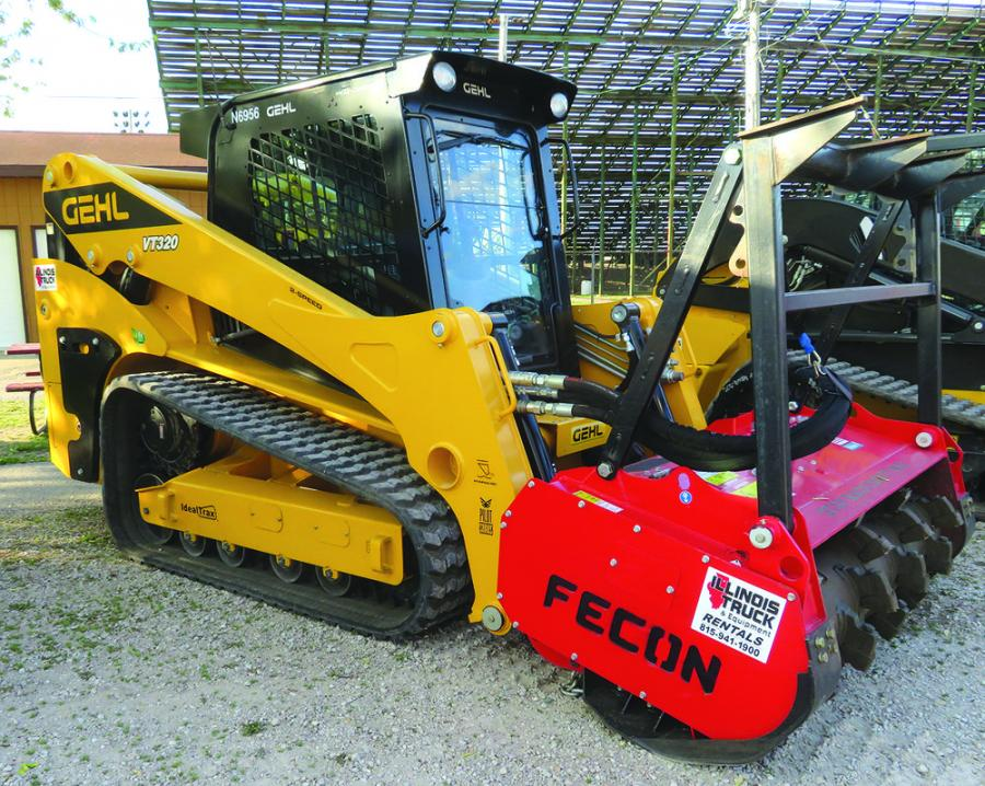 Illinois Truck & Equipment recently became a Gehl skid steer dealer and it displayed the Gehl VT 320 compact track loader with a Fecon Bull Hog mulcher.