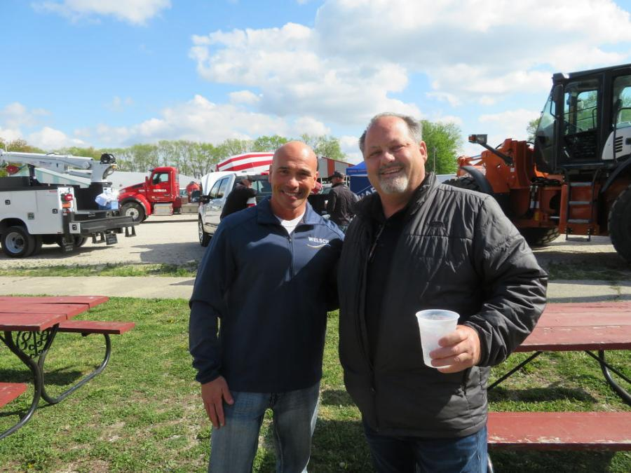 """Vince Blecha (L), sales representative of Welsch Ready Mix, and Kenny Sandeno, president of """"D"""" Construction Inc., Coal City, Ill., catch up at the CAWGC Meet & Greet."""