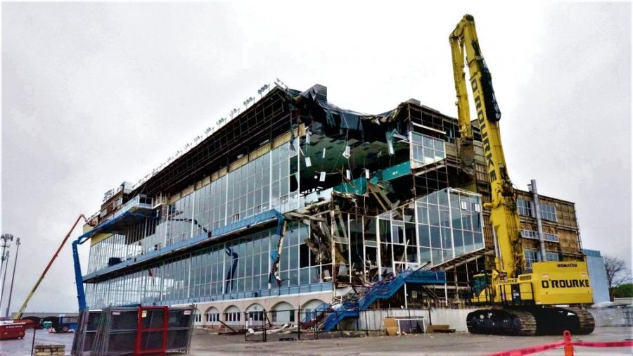 The Turfway Park grandstand was demolished via machinery as opposed to implosion, which allowed training activities to continue after the last live races were held in March 2020. (O'Rourke Wrecking Company photo)