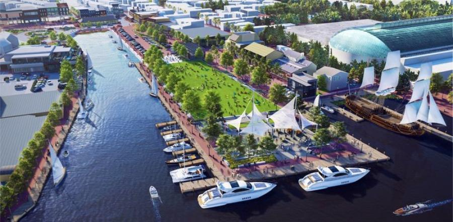 Preliminary concept renderings for the Hillman Garage-City Dock redevelopment project. Annapolis Mobility and Resilience Partners, or AMRP, a consortium of 10 companies, will oversee the redevelopment.