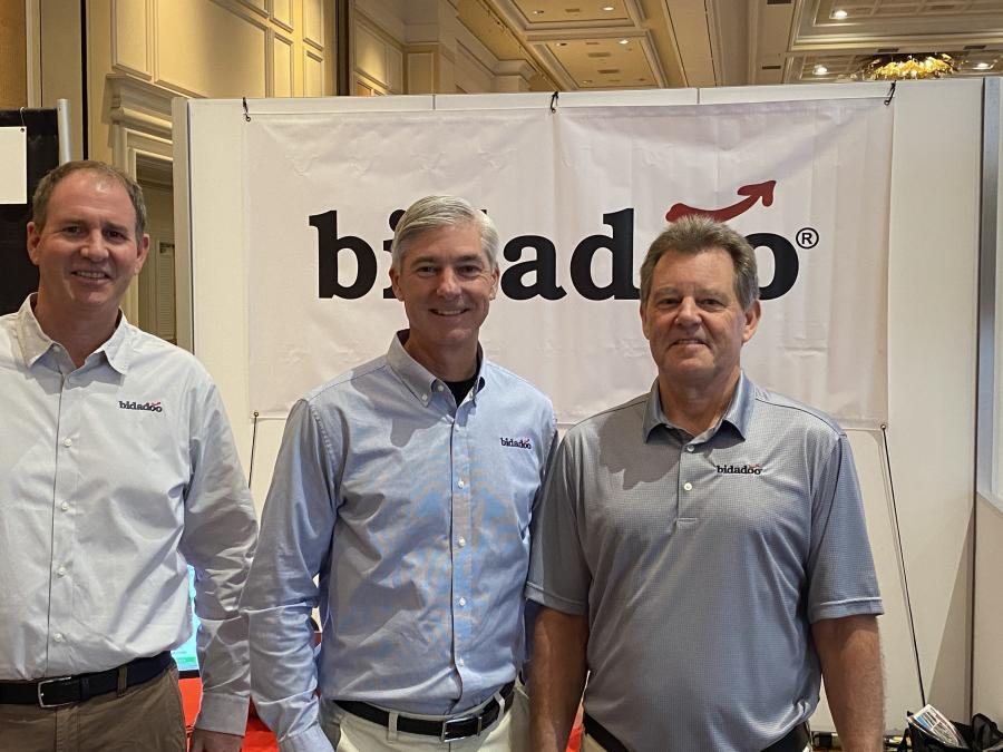 One of the industry's innovators in online equipment auctions, bidadoo,  is represented (L-R) by Mark Hanson, vice president of sales; Howard Hawk, president; and Frank Wilson, vice president of operations.