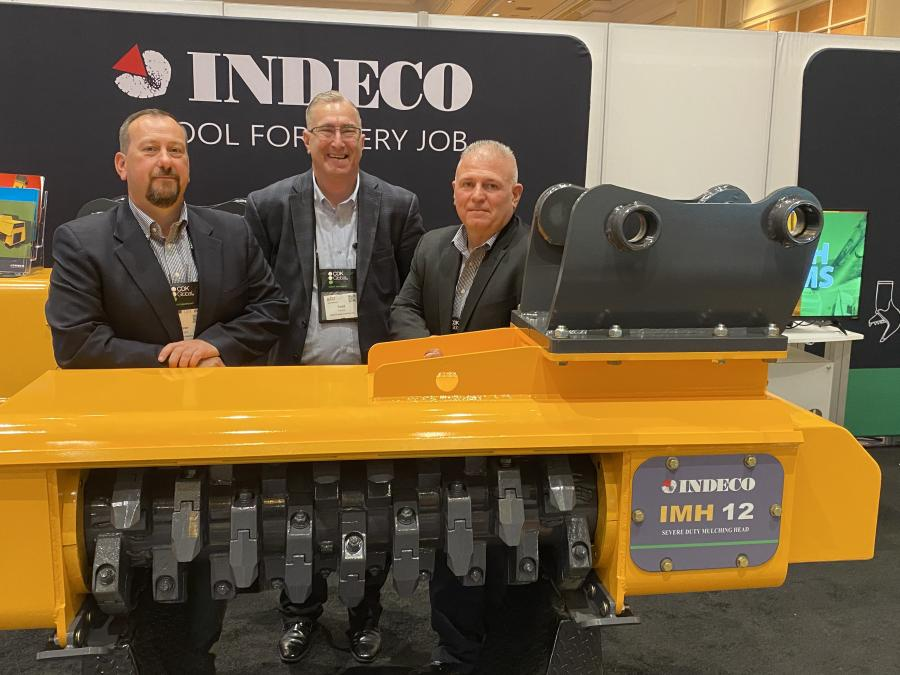 Indeco has expanded its product offering to include mulching heads. (L-R) are Ryan Murphy, Todd Francis and Ron Reed.