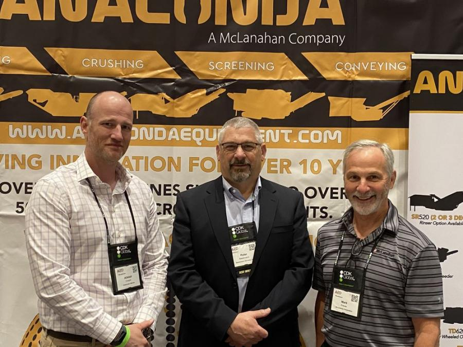 Pete Baschmann (C), president of Baschmann Services in Buffalo, N.Y., meets with two of his primary suppliers of aggregate equipment, Alistair Forsyth (L), president and managing director of Anaconda Equipment and Mark Krause, managing director of McLanahan Company.