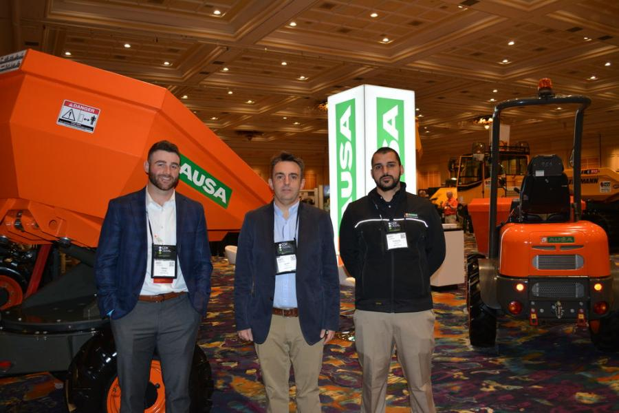 AUSA, a global manufacturer of compact industrial vehicles for moving materials and road maintenance, displayed its line of machines to an interested crowd of attendees at AED.  (L-R) are Regional Sales Manager Steve Paley, Ignasi Moner and Anthony Buccini, all of AUSA.