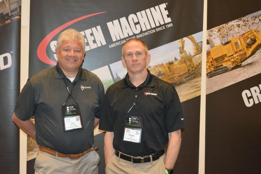 John Lamprinakos (L), president of Screen Machine and Diamond Z, and Timothy Miller, director of inside sales, were on hand to present Diamond Z's line of tub, horizontal and solid waste grinders and sister company Screen Machine's portable jaw, impact and cone rock crushers, screening plants and trommels.