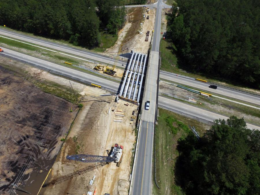 McLendon Enterprises Inc. is the general contractor tasked with replacing a two-lane, 215-ft. long concrete overpass, built in 1960, with a 186-ft., five-lane bridge that spans four mainline lanes of I-16.